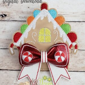 3D Gingerbread House Bow Machine Embroidery Design Digital Download by MGEDesigns