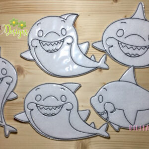 Baby Shark Family Coloring Dolls Machine Embroidery Designs Digital Download by MGEDesigns