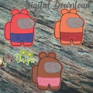 AmongU Bear Feltie Machine Embroidery Design Digital Download by MGEDesigns