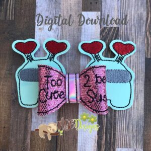 3D Cute Sus Hairbow Machine Embroidery Design Digital Download by MGEDesigns