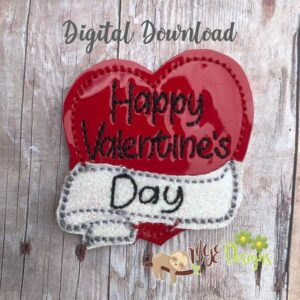 Happy Valentine's Day Feltie Machine Embroidery Design Digital Downlaod by MGEDesigns