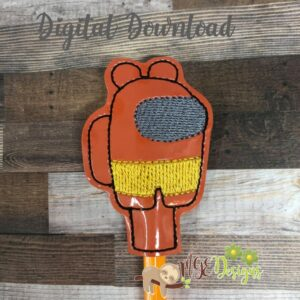 AmongU Bear Pencil Topper Machine Embroidery Design Digital Download by MGEDesigns