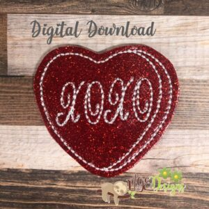 Xoxo Heart Feltie Machine Embroidery Design Digital Download by MGEDesigns