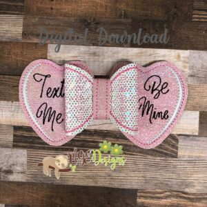 3D Convo Heart Hairbow Machine Embroidery Design Digital Download by MGEDesigns
