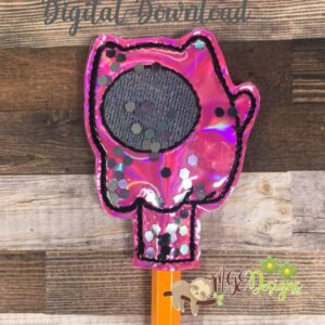AmongU Cat Pencil Topper Machine Embroidery Design Digital Download by MGEDesigns