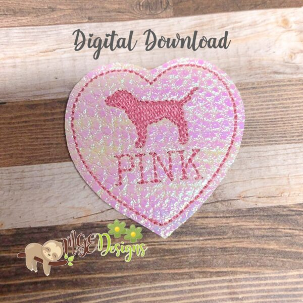 Pink Heart Feltie Machine Embroidery Design Digital Download by MGEDesigns
