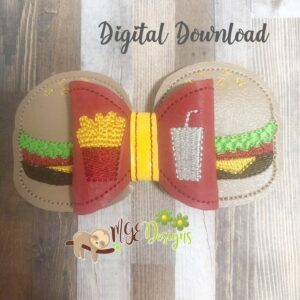3D Burger Bow Machine Embroidery Design Digital Download by MGEDesigns