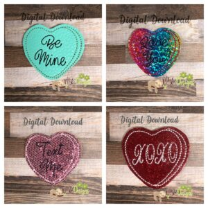 Convo Heart Feltie Set Machine Embroidery Design Digital Download by MGEDesigns