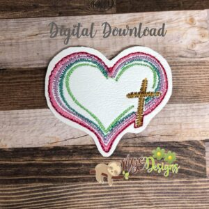 Cross Heart Feltie Machine Embroidery Design Digital Download by MGEDesigns