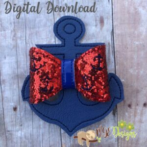3D Anchor Bow Machine Embroidery Design Digital Download by MGEDesigns