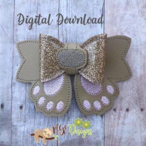 3D Dog Paws Hairbow Machine Embroidery Design Digital Download by MGEDesigns
