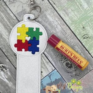 Autism Lip Balm Holder Machine Embroidery Design Digital Download by MGEDesigns