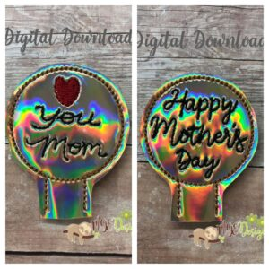 Mothers Day Pencil Toppers Machine Embroidery Design Digital Download by MGEDesigns