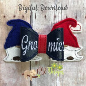 3D Gnome Hair Bow Machine Embroidery Design Digital Download by MGEDesigns