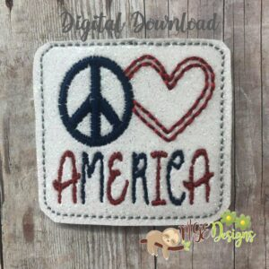 Peace Love America Feltie Machine Embroidery Design Digital Download by MGEDesigns