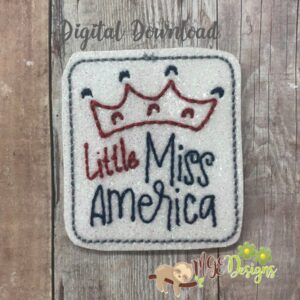 Little Miss America Feltie Machine Embroidery Design Digital Download by MGEDesigns