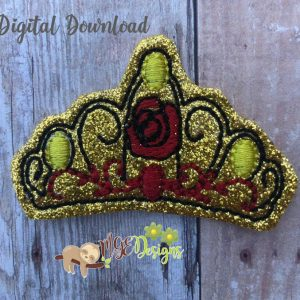 Rose Princess Crown Feltie Machine Embroidery Design Digital Download by MGEDesigns