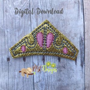 Pink Princess Crown Feltie Machine Embroidery Design Digital Download by MGEDesigns