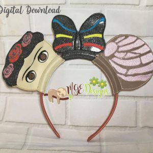 Frida Concha Mouse Ears Headband Machine Embroidery Design Digital Download by MGEDesigns