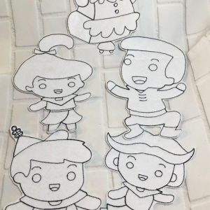 Jetsons Coloring Doll Set Machine Embroidery Design Digital Download by MGEDesigns