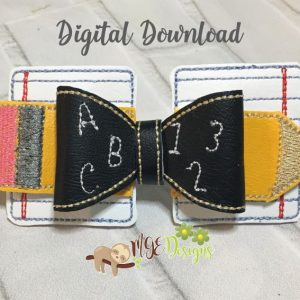 3D Back To School Bow Machine Embroidery Design Digital Download by MGEDesigns
