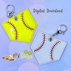 Ball Field Key Fobs Machine Embroidery Design Digital Download by MGEDesigns