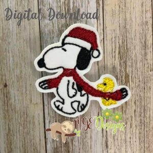 Christmas Snoopy Woodstock Feltie Machine Embroidery Design Digital Download by MGEDesigns